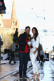 Vogue Williams braved the streets in a pair of pristine white slacks with ruched ankles at the Emirates Melbourne Cup Medial Launch.