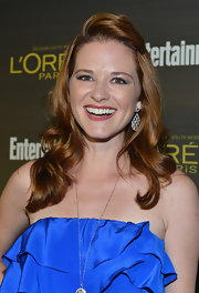 Sarah Drew looked bright and happy at the Entertainment Weekly Pre-Emmy Party in a half-up half-down hairstyle.