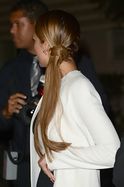 Jessica wore her hair in a neat French side-braid with an extra-long ponytail.