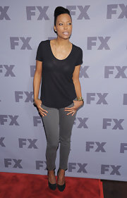 Aisha Tyler went casual at the FX event in this sheer black tee.