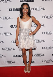 Gabrielle Douglas was a doll at the Glamour Women of the Year Awards in this crisp white cocktail dress with a textured overlay.