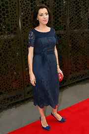 Tina Arena wore this blue lace dress to the LMFF launch in Australia.