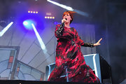 Florence Welch took to the stage in full force wearing this vivacious silk print gown.