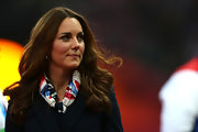 Kate showed off her team spirit at the Paralympic Games with a Team Great Britain scarf.
