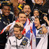 David Beckham #23 of Los Angeles Galaxy celebrates the 3-1 victory against the Houston Dynamo with sons Brooklyn, Romeo and Cruz after winning the 2012 MLS Cup at The Home Depot Center on December 1, 2012 in Carson, California.