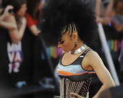 Kreesha's hair was a sight to behold as she combined an afro with cornrows to further highlight her crowning glory at the MuchMusic Video Awards.