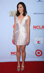 Aubrey Plaza was shimmering all the way down to her silver strappy sandals at the 2012 ALMA Awards.