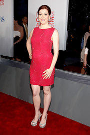 Alyson Hannigan was red hot on the red carpet in a beaded cocktail dress. She paired her look with platform slingback pumps.