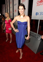 Cobie Smulders looked fab at the People's Choice Awards in a violet corset dress and gold accessories.