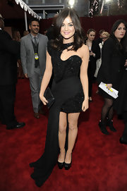 Lucy Hale accessorized her black dress with classic dark platform pumps.