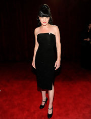 Pauley shined on the red carpet in a strapless black dress with patent leather Mary Jane pumps.