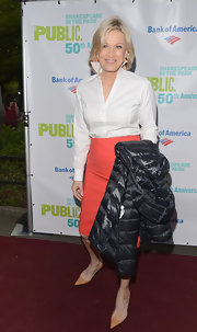 Diane Sawyer achieved a classic look with a white button-down shirt and coral pencil skirt at the 2012 Public Theater Gala.