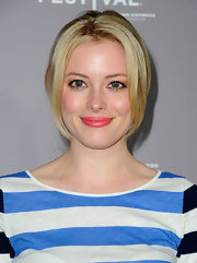 Gillian Jacobs wore a pop of glossy vibrant coral pink lipstick at the 2012 Tribeca Film Festival.