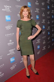 For the Tribeca Film Festival reception, Christine Lahti wore this olive green bandage dress.