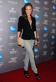 Lauren C. Mayhew rocked an edgy pair of black sandals at the 2012 Tribeca Film Festival.