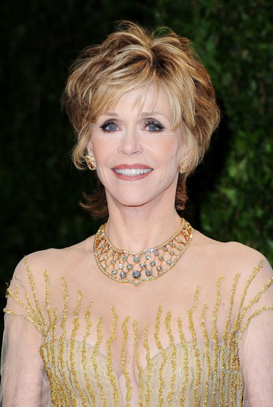Jane Fonda attended the 2012 'Vanity Fair' Oscar Party wearing a stunning bib necklace featuring 310 brilliant-cut diamonds equalling 106 carats along with a pair of ruby cabochon earrings featuring 278 diamonds.