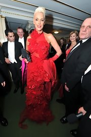Brigitte Nielsen looked completely couture in this incredible red evening gown.