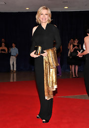 Diane Sawyer looked gorgous in this draped knit gown with shoulder cutouts at the White House Correspondents' Dinner.