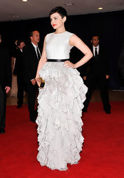 Ginnifer Goodwin was the most daring of the night at the White House Correspondents' Dinner in this ruffled gray gown.