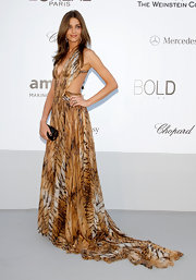 Ana Beatriz Barros looked fiercely sexy in a backless tiger-print gown at the Cinema Against AIDS amfAR Gala.
