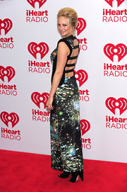 Candice Accola went for a sexy, modern look with this backless cosmic-print dress at the 2012 iHeartRadio Music Festival.