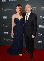 Daniela Lavender looked flawless in her strapless blue evening dress during the BAFTA LA Britannia Awards.