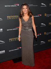 Salma Hayek slipped into a slinky beaded gray dress for the BAFTA LA Britannia Awards.