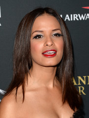 Rocsi Diaz's false lashes made her look like she had feathers on her lids.
