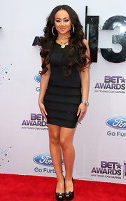 Cymphonique opted for a deep navy dress with black panel detailing for her look at the 2013 BET Awards.