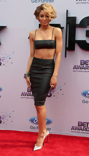 Ciara bared her midriff at the 2013 BET Awards where she wore this black crop top and matching skirt.