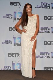 Gabrielle Union chose an off-white embroidered gown for her elegant wardrobe change at the BET Awards.