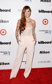 Christina Perri made a very chic choice with this strapless cream jumpsuit by Elisabetta Franchi when she attended the Billboard Women in Music event.
