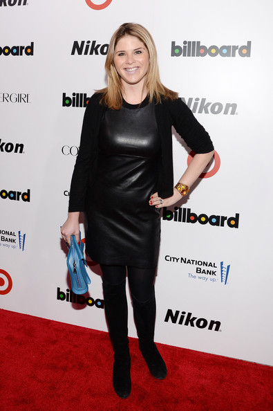 Jenna Bush Hager finished off her edgy ensemble with a pair of knee-high black suede books.