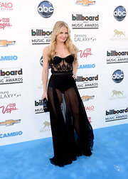 Jennifer Morrison looked totally sexy and chic in this black bustier lace and silk chiffon gown.