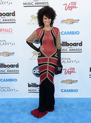 Andy Allo's red, black and nude dress had a cool bohemian look to it with its crocheted sleeves and train.