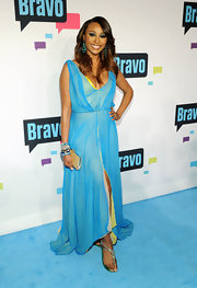 Cynthia Bailey's sky blue gown featured a fun highlighter yellow underlining for a vibrant and bold red carpet look.