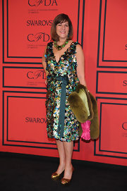 Kay Unger chose a sparkly beaded dress with a matching sash and fur shawl for her look at the CFDA Fashion Awards.