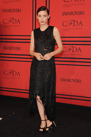 Chunky black platforms finished off Rooney Mara's attire.