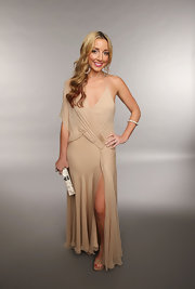 Ashley Monroe chose a draped nude gown for her look at the 2013 CMT Music Awards.