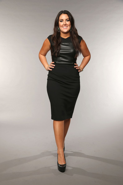 Kree Harrison sported this black sheath dress with a leather panel on the bodice.