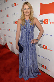 Lindsey Vonn's blue gown featured a cool abstract print and a delicate cutout at the bust.