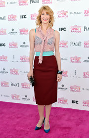 Laura Dern added a pop of color to her look at the Independent Spirit Awards with a red and turquoise pencil skirt.