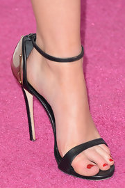 Jennifer Lawrence opted for a modern and sleek look at the Independent Spirit Awards with these leather and metal heels.
