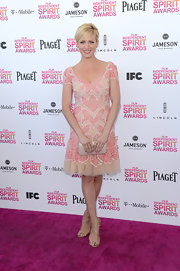 Brittany Snow is known for her sweet and feminine style as she showed here with this soft pink embroidered frock.