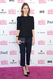 Sofia Coppola opted for a muted blue print blouse for her look at the Independent Spirit Awards.