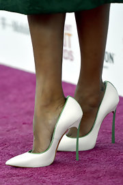 Zoe Saldana opted for some major height at the Independent Spirit Awards with these white-and-green leather pumps.