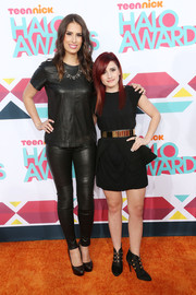 Claire Schlissel donned a black leather T-shirt for her edgy HALO Awards look.