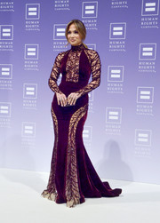 Jennifer Lopez looked every inch the diva in a multitextured purple and nude mermaid gown by Zuhair Murad at the HRC National Dinner.