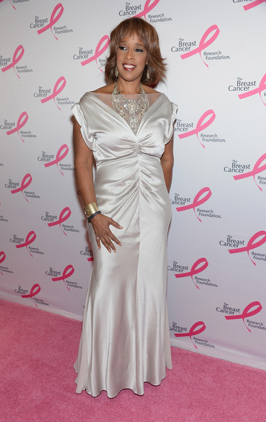 Gayle King chose a satin gown with a gathered waist for her elegant look at the Hot Pink Party in NYC.