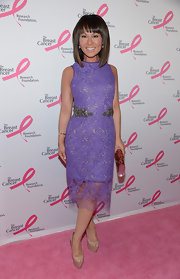 Alina Cho chose this purple lace, column-style dress that featured an embellished waist for her look at the Hot Pink Party in NYC.